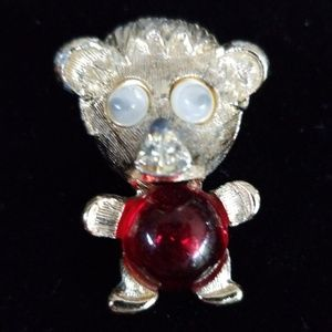Vintage Teddy Bear Jelly Belly Brooch Googly Eyes